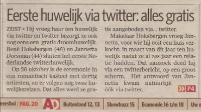 Twedding op de voorpagina van het Algemeen Dagblad AD